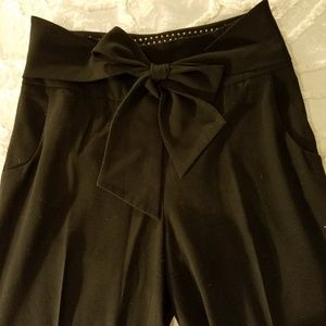 Elevenses Wide-Leg Black Pants with Bow